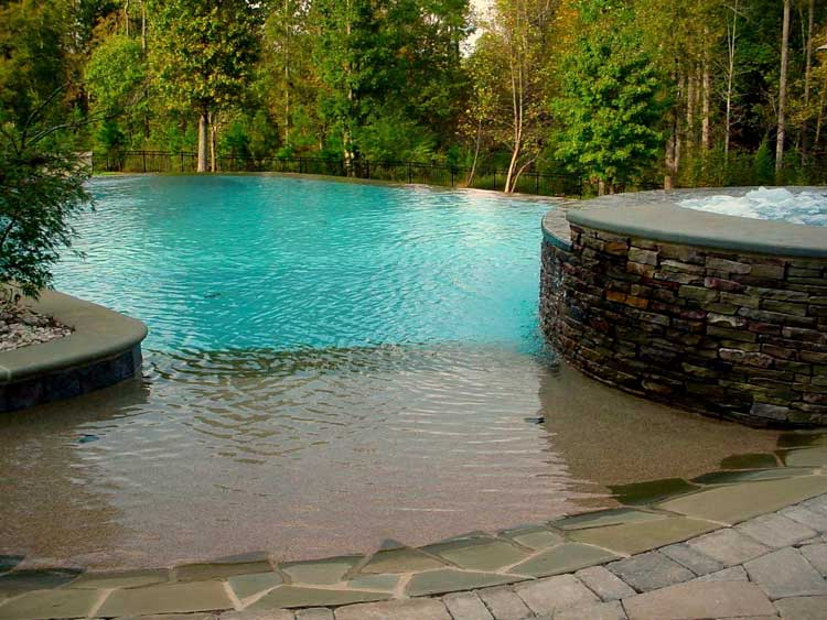 Frank bowman designs inc swimming pool landscape picture raleigh images of swimming pools - Beach entry swimming pool designs ...