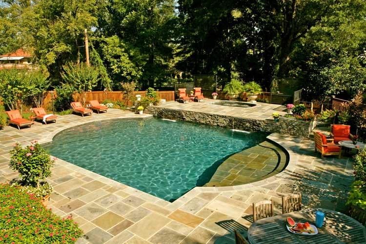 Frank bowman designs inc swimming pool landscape for Roman garden designs
